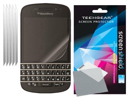 TECHGEAR [5 Stück Bildschirmschutz für BlackBerry Q10 - Ultra Klare Schutzfolie für BlackBerry Q10 mit Reinigungstuch + Applikationskarte