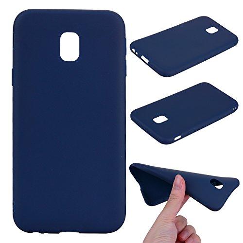 LeviDo Coque Compatible pour Samsung Galaxy J3 2017 Étui Silicone Souple Bumper Antichoc TPU Gel Ultra Fine Mince Caoutchouc Bonbons Couleurs Design Etui Cover, Bleu Foncé