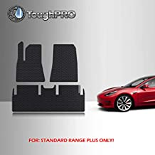TOUGHPRO Floor Mat Accessories Set (Front Row + 2nd Row) Compatible with Tesla Model 3 Standard Range Plus - All Weather - Heavy Duty - (Made in USA) - Black Rubber - Dec 2020 - May 2021