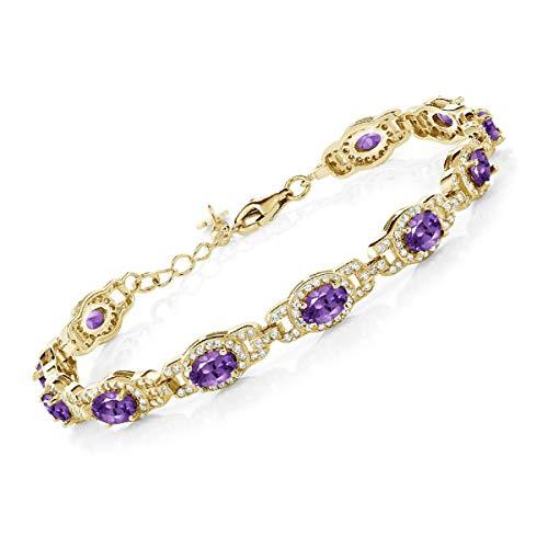 18K Gold Amethyst Tennis Bracelet