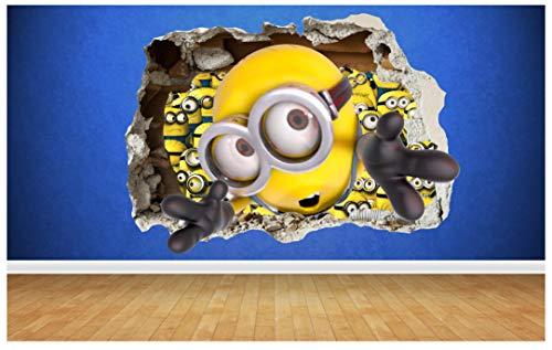 Minions destruyó pared 3d estilo gongzai woooowltd dormitorio infantil del arte del vinilo, multicolor, Small: 50cm x 36cm