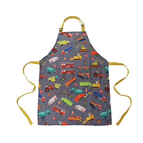 Kids Apron - Truck - Dual Pockets - chef kitchen cooking garden artist painting cleaning baking pottery gift boys girls