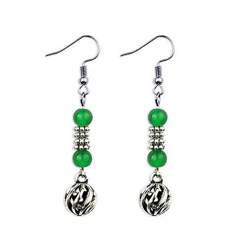 earring New Ceramic Beads Earrings Green ,fashion Vintage Ethnic Aventurine Earrings