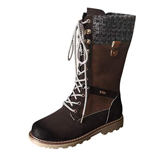 MOTOCO Frauen Stiefel Casual Runder Zeh Rom Retro Mitte der Wade Stiefel Schnüren Vintage Blockabsatz Booties(Braun,42.5 EU)