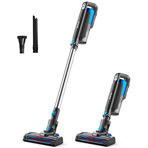 Lowest Price! COSTWAY 6 in 1 Cordless Bagless Vacuum Cleaner, Lightweight Ultra-Quiet Handheld HEPA Stick Vacuum with 12KPa Suction, Rechargeable Battery and LED Brush for Hard Floor, Carpet, Car, Pet Hair (Blue)