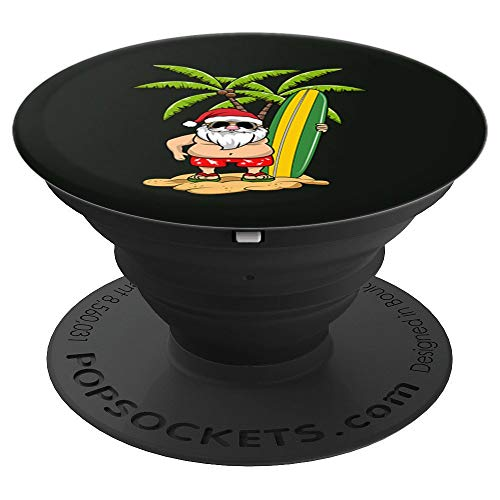 Christmas in July Funny Santa Hawaii Surfing Surf PopSockets Grip and Stand for Phones and Tablets