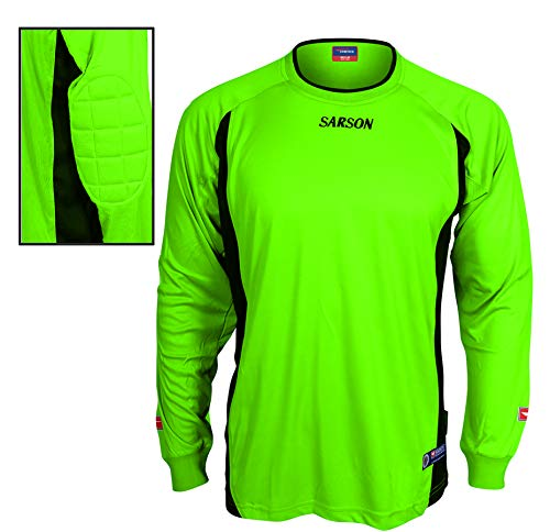 Lusaka Goalie Jersey Long-Sleeve with Padding Sleeve Sides - Quick-drying 100% Polyester Jersey – Comfortable Lightweight - Side Mesh for Insert Key (Adult Medium, neon green/black/grey)