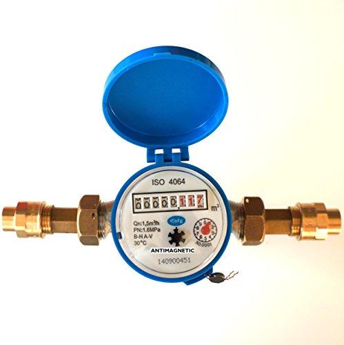 Compteur d'eau débit Maison et Jardin 1,5 m3/h Connecteurs 15 mm Cooper l'eau Froide
