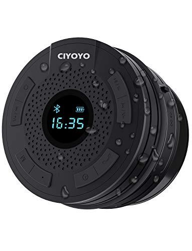 Shower Radio Bluetooth Speaker - IPX6 Waterproof Bathroom Radio, CIYOYO Wireless Shower Speakers with Clock Suction Cup Lanyard FM Radio LCD Display Built-in Mic 10 Hours Music Play