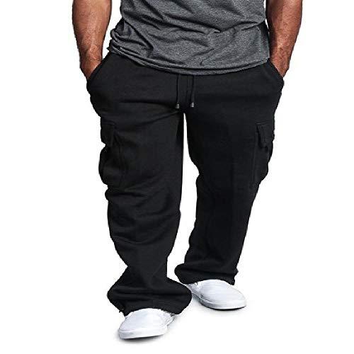 nobrand Straight Pants für Herren, lockere Jogginghose, einfarbig, lässige Sporthose, Hip-Hop Gr. 31-35, Schwarz