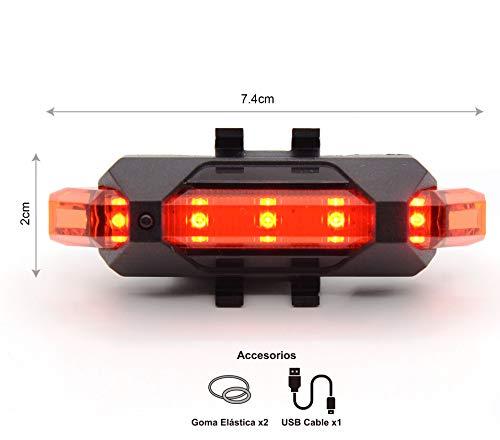 SMAMS Luz Trasera Potente para Bicicleta Recargable USB - Potente LED Faro...