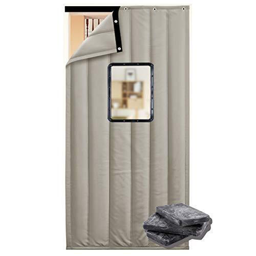 JINGMAI Wärmeschutzvorhang, 3cm Dick Isolierter Türvorhang, 30x45cm PVC Fenster Thermovorhang Zum Falttüren, Winddicht Warm Anpassbar (Color : Gray, Size : 0.85x2.1m)