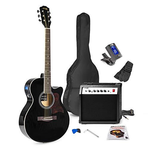 MAX Showkit Guitarra electroacústica – Negro, cuerdas de acero, amplificador 40 W, bolsa de transporte, afinador digital, juego de cuerdas, dos púas y una correa