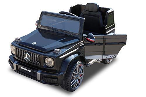 RIRICAR Voiture électrique pour Enfants Mercedes G Neu 2020 Model, Noir avec télécommande 2,4 GHz, Roues EVA Souples, Batterie 12V - 4AH, Portes ouvrantes