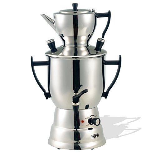 BEEM Samowar 2017/3l | Teekocher elektrisch | Edelstahl | 1.500 W | 3 l Wasserbehälter | 1,2 l Teekanne mit Sieb | Privat, Hotel und Gastro geeignet