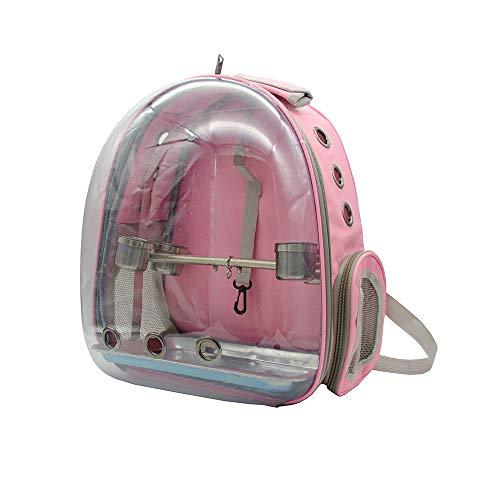 KEBY Papagei Rucksack mit Ständer Vogel Transportkäfig Rucksack Travel Cage Carrier 360 ° Sichtfeld Tragbar Atmungsaktiver Tragetasche (Pink)