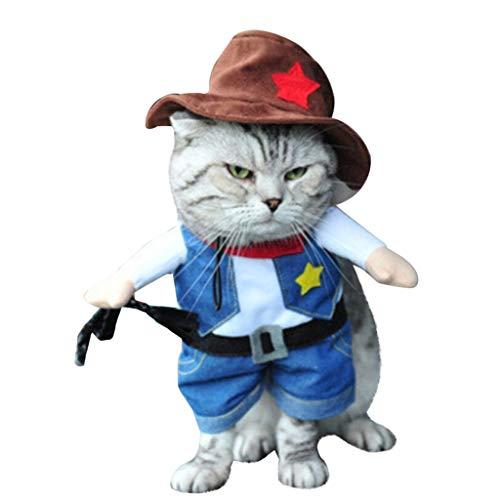 Lustiges Haustierkostüm für Hunde und Katzen, Piraten, Western Cowboy, Krankenschwester, Seemann, Chinesischer Kaiser, Haustier Kleidung Cosplay inkl. Hut (M, E - Cowboy)