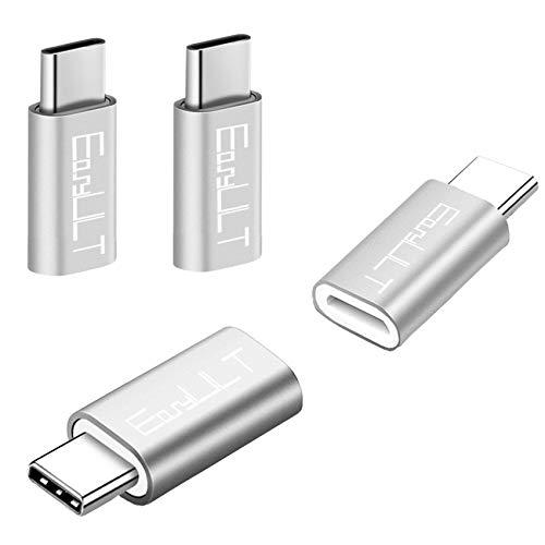 EasyULT Adattatore USB C a Micro USB [4 Pack], USB C Adapter USB Type C Adattatore Connettore per Galaxy S8/S8+,Huawei P10 Plus/Honor 8,LG G6 e Altri Dispositivi USB C (Argento)