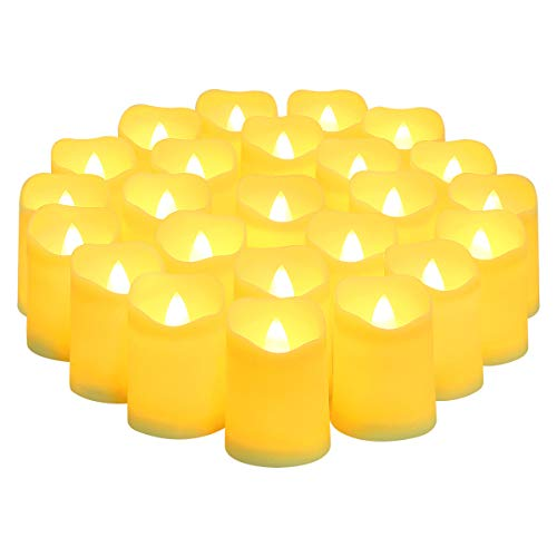 ORIA LED Tea Light, Battery Operated Candles, [24 Pack] [3.8 x 4.7cm] Flameless Candles, Realistic and Bright Electric Fake Candle in Warm White and Wave Open for Halloween, Christmas Decor
