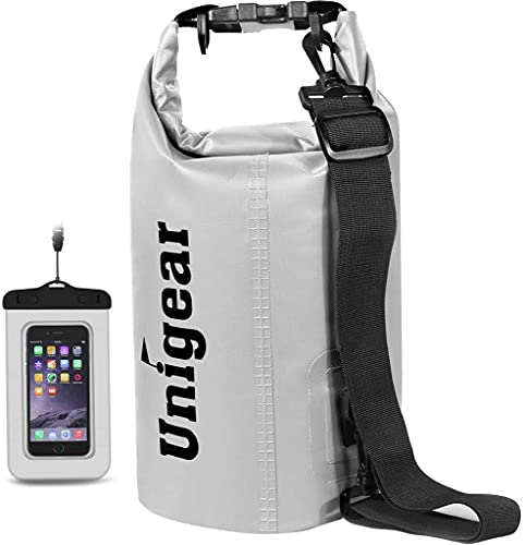 Unigear Dry Bag, 2L/5L/10L/20L/30L/40L, wasserdicht Taschen mit Handytasche und Gurte für Boot und Kajak, Angeln, Rafting, Schwimmen, Camping und Snowboarden, MEHRWEG (Weiß, 2L)