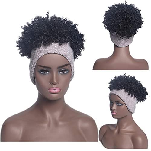 Lzpzz Peluca para diadema, peluca para mujeres negras, peluca afro rizada, rizada, 2 en 1, pelo sinttico adorable, turbante, peluca con cordn, pelucas de soplo alto (color: D)