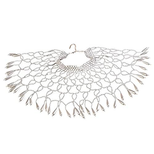 MEIBAOGE Gargantilla de perlas con cuentas de perlas con patrón geométrico hueco, collar de Gatsby, collar de lujo desmontable para mujer, joyería de cuello blanco, circunferencia: 420 mm