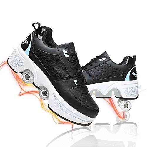 Patines De Ruedas para Mujer Zapatos Parkour con Ruedas Zapatillas 2 En 1 Zapatos De Patinaje Universales para Niños Y Niñas Ajustables Zapatos,Black Blue,37
