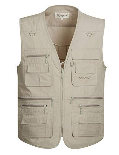 Gihuo Men's Summer Outdoor Work Safari Fishing Travel Vest With Pockets (XX-Large, Beige)