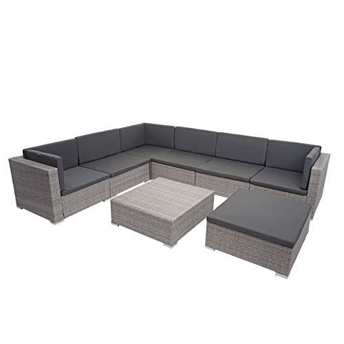 Mendler Poly-Rattan Garnitur HWC-G79, Balkon-/Garten-/Lounge-Set Gartenmöbelset Sitzgarnitur Sofa - grau, Kissen dunkelgrau