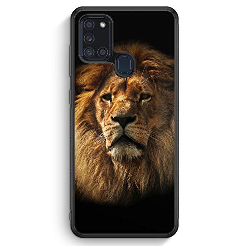 Löwe Lion Foto - Silikon Hülle für Samsung Galaxy A21s - Motiv Design Tiere Schön Jungs Männer - Cover Handyhülle Schutzhülle Hülle Schale