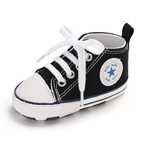 Baby Girls Boys Canvas Shoes Soft Sole Toddler First Walker Infant High-Top Ankle Sneakers Newborn Crib Shoes (S: 4.25 inch(0-6 Months), A-Black)