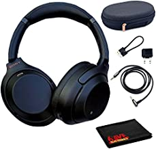 Sony WH-1000XM3 Wireless Noise-Canceling Over-Ear Headphones (Black) with Cleaning Cloth