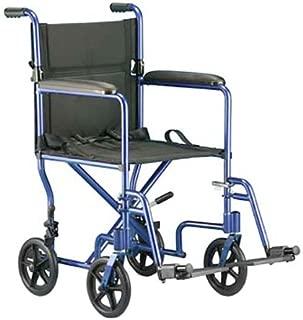 ZCH9201BLEA - Transport Chair with Swing Away Foot Rest 19 Width, Aluminum, Blue