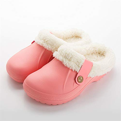 Syczdntx Pantofole dei sandali d'inverno pantofole scarpe morbide Indoor casual Crocus Zoccoli con pelliccia fodera in pile piano casa delle donne pantofole donna ( Color : Pink , Shoe Size : 40 )