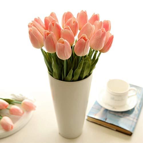 Artificial Flowers 1pc PU Tulipes Fleurs artificielles Calla Contact réel artificiales Para Decora Mini Tulip Calla for la Maison décoration de Mariage Fleurs (Color : Love Pink)