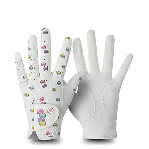 Frauen-Golf-Handschuhe Golf-Handschuhe Frauen-Hände aus Mikrofaser atmungsaktiv Anti-Rutsch-Wearable nette Farben Passende Lady Golf-Handschuhe Golf-Handschuhe ( Farbe : Multi-colored , Size : 19 )