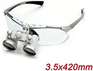Zinnor Dentist Dental Surgical Medical Binocular Loupes 3.5X 420mm Optical Glass Loupe (Silver)