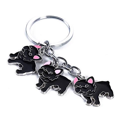 Beiswin Französisch Bulldog Anhänger Schlüsselanhänger Cartoon Hund Tasche Auto Keychain Schlüsselanhänger Halter für Frauen Männer (Bulldogge)