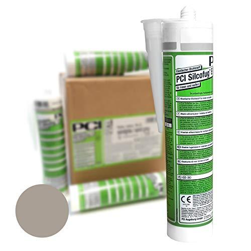 PCI Silcofug E 12 x 310 ml Sanitär Silikon Dichtstoff (sandgrau)