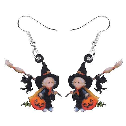 Dames Oorbellen Acryl Bezem Hoed Heks Pompoen Zwarte Kat Oorbellen Drop Dangle Decoratie Sieraden