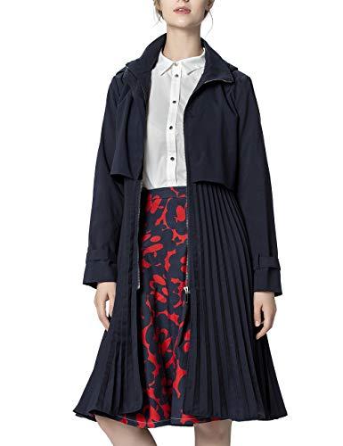 APART Damen Trenchcoat plissiert, Nachtblau, 36