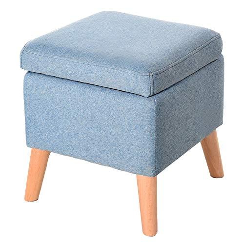 QQXX Hocker Hocker SofaBench Stuhl Sitz Tisch Weichholz BeineSchuhe ändern Größe Farbe 4 Farben erhältlich 40 x 40 x 42 cm, Leinen, hellblau