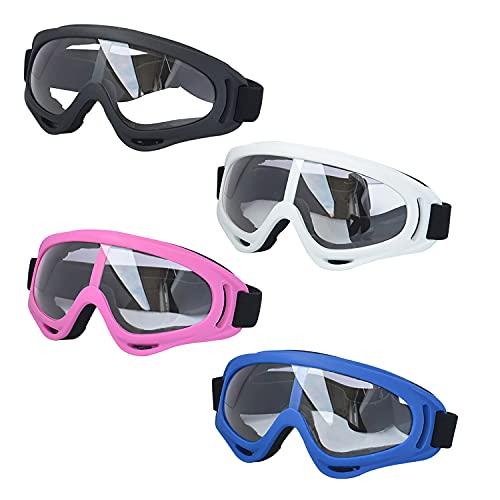 LJDJ Motorcycle Goggles - Glasses Set of 4 - Dirt Bike ATV Motocross Adjustable UV 400 Outdoor Sports Tactical Dust-Proof Combat Military Glasses for Kids, Boys, Girls, Youth, Men, Women
