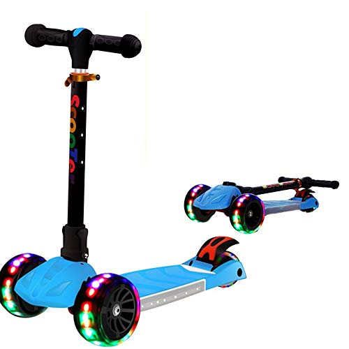 Review WHTBB Scooters, Scooters Boys Girls Kids Childrens LED 3 Wheels Folding Foldable Push Kick Ri...
