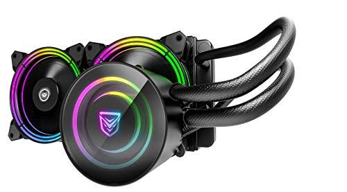 Nfortec Atria Refrigeración Líquida RGB con conector estándar 5v 3 pin y ventilación con 7 aspas, compatible con 10th generación de Intel, Color Negro, 240 mm