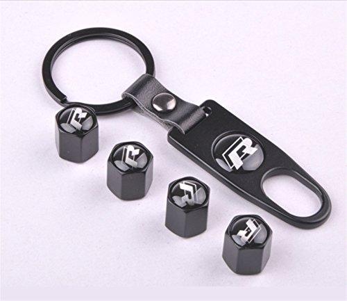 bestmay chrom Auto Rad Reifen Ventil Vorbau-Kappen Set für R Logo mit Schlüsselanhänger Combo Set