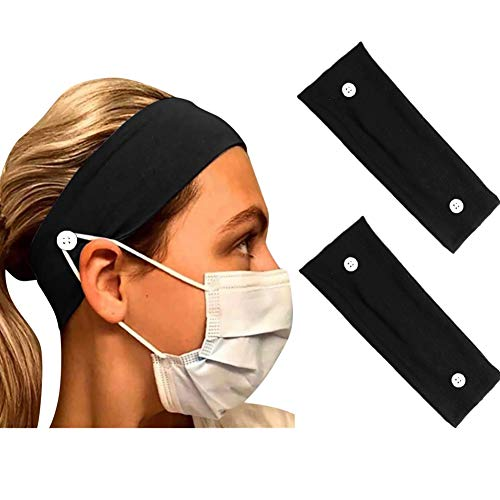 Bandeaux de Bouton pour les Infirmières Médecins, Large Bandeau de Support de Masque Elastique, Yoga Sports Turban Headwrap pour Femmes Hommes 2 Pack