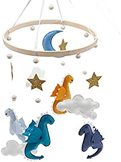 Baby Crib Mobile Felt Ball Mobile Dinosaur Hairball Wind Chimes Cot Bell Rattle Toys Hanging Ornaments Photo Props Nursery Ceiling Decoration for Girl & Boy (A)