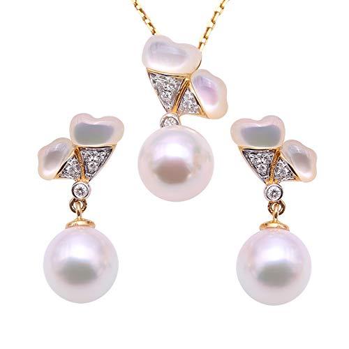 Jyx perla ciondolo orecchini set oro 18K di lusso, 8mm, colore: Bianco perla Akoya giapponese Seawater collana di perle coltivate ciondolo collana