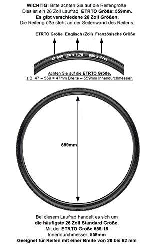 REDONDO 26 Zoll Vorderrad Laufrad Fahrrad V-Profil Hohlkammer 26″ Felge Schwarz - 2